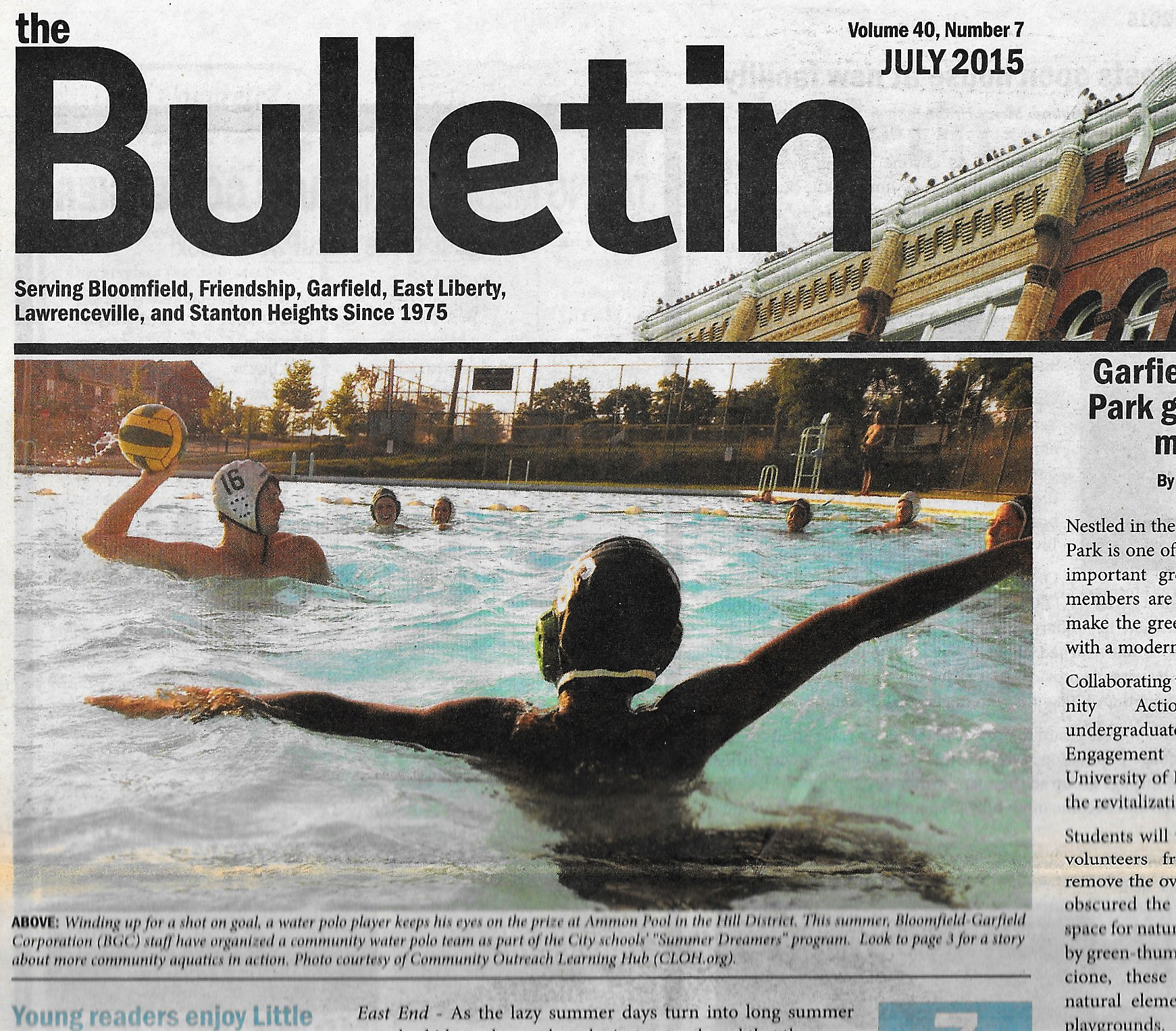 Water polo on cover of BGC Bulletin